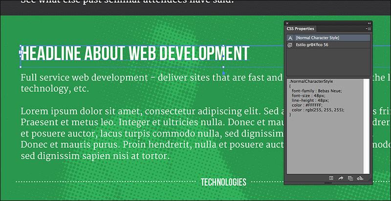 Илустрација 18 Извлекување CSS од Illustrator.