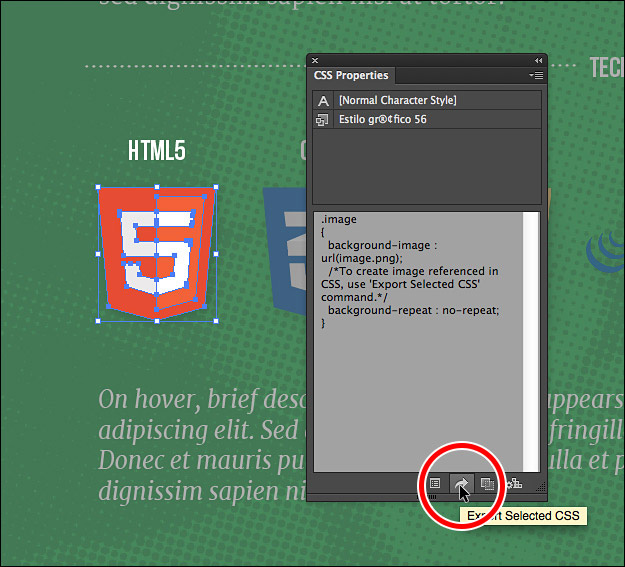 Илустрација 19 Зачувување на PNG од панелот за CSS својства.