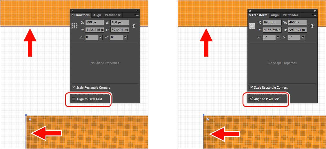 Илустрација 6 Од лево, хоризонталните и вертикалните рабови не се закачени за мрежата со пиксели, од десно, истите се закачени.